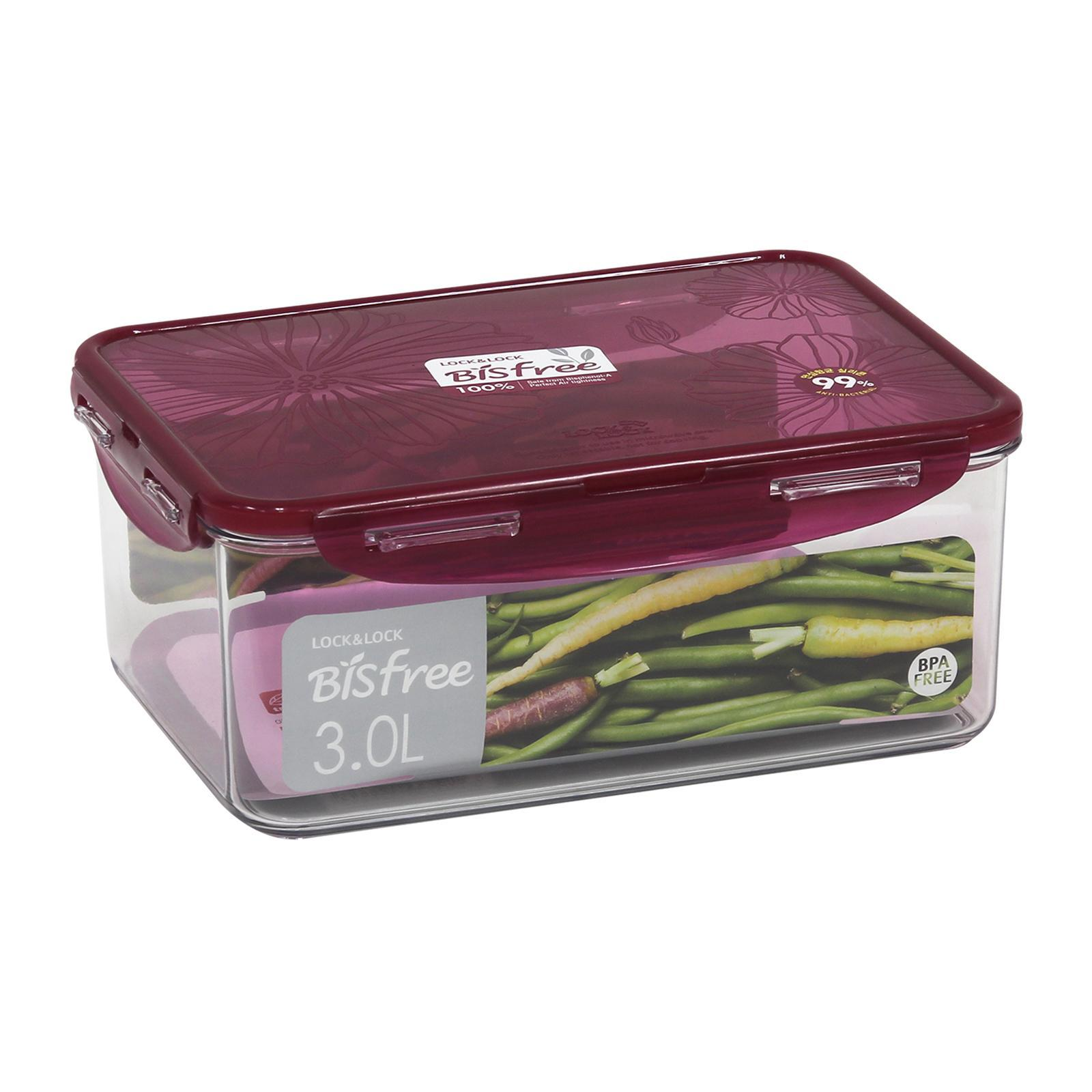 Lock and Lock Bisfree Food Container Rectangle Red