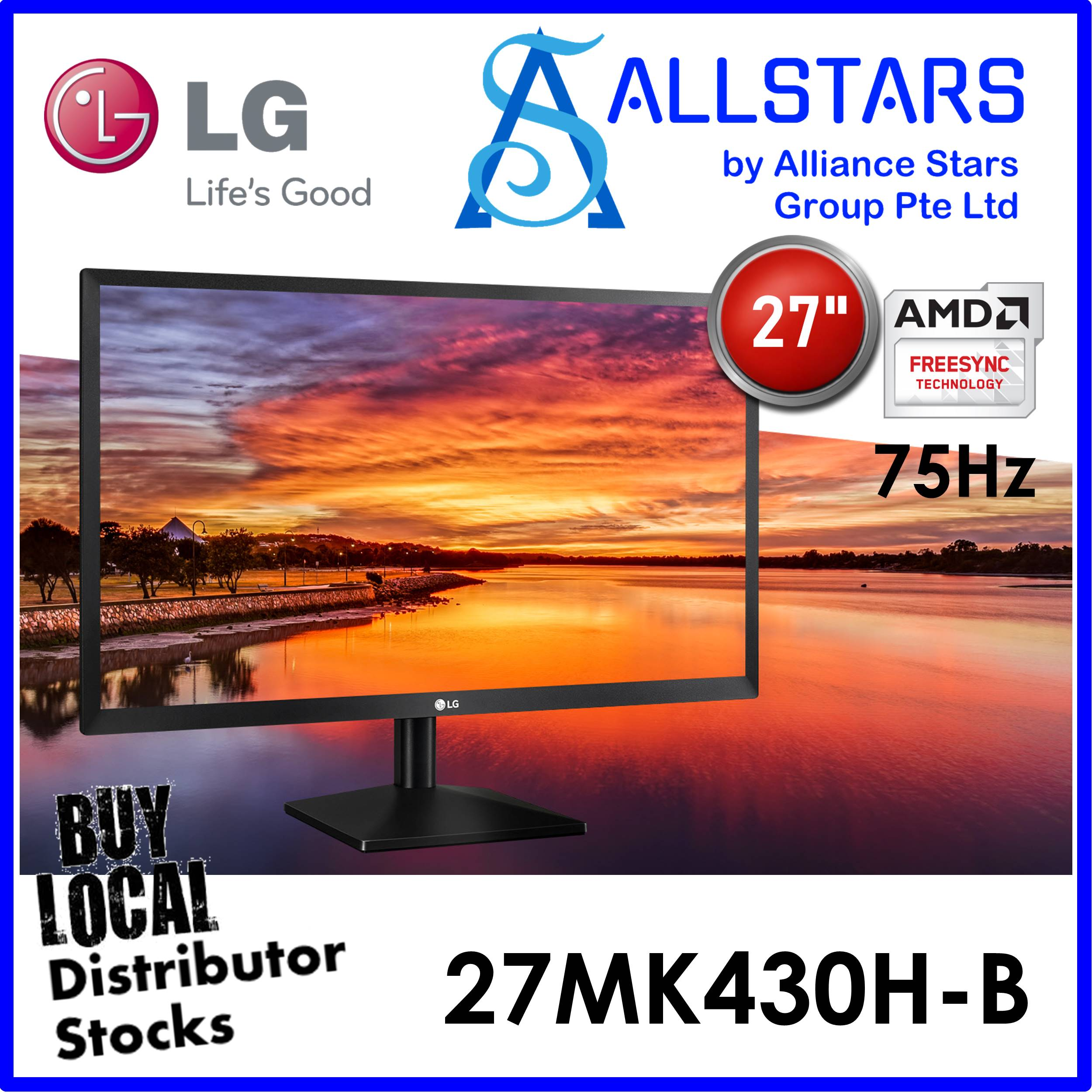 (allstars : We Are Back / Display Promo) Lg 27 Inch 27mk430 / 27mk430h / 27mk430h-B Full Hd Ips Monitor / 75hz / Freesync / Hdmi+vga / Audio Out / Vesa Mount Compatible 100x100mm (warranty 3years With Lg Sg).