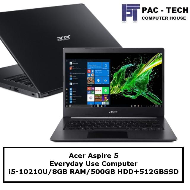 Acer Aspire 5 / i5-10th Gen / 8GB / 500GB HDD + 512GB SSD / 1 Year Warranty