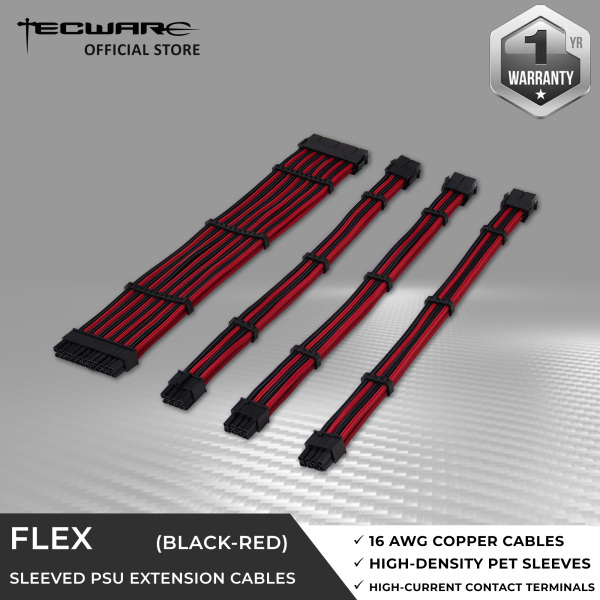 Tecware FLEX PSU Extension Cables Set - 1 x 24pin Motherboard / 1 x 4+4pin CPU / 2 x 6+2pin PCIE [4 Color Options]