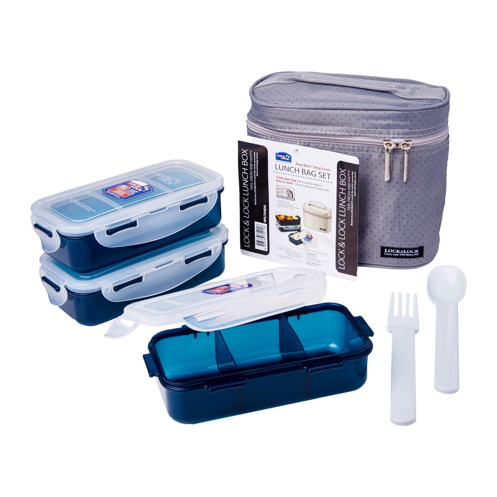 LOCK & LOCK Lunch Box Containers +Fork and Spoon Grey