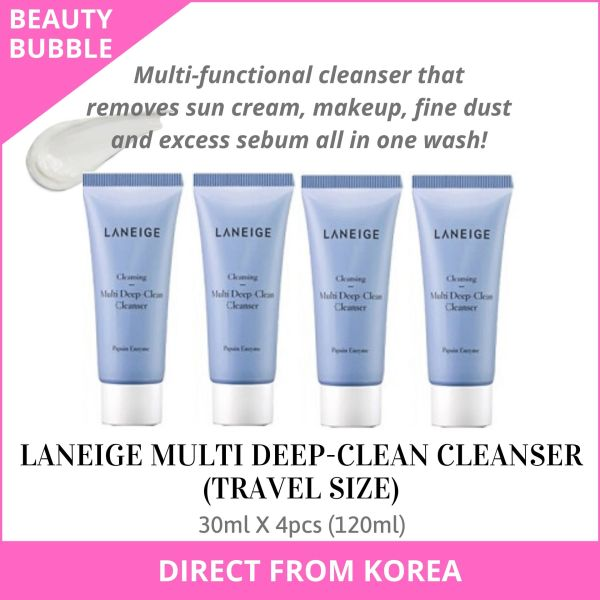 Buy [LANEIGE] Multi Deep Clean Cleanser 30ml X 4pcs = 120ml (Trial / Travel Size) For All Skin Types | Multi-functional cleanser that removes sun cream, makeup, fine dust and excess sebum all in one wash - BeautyBubble Singapore
