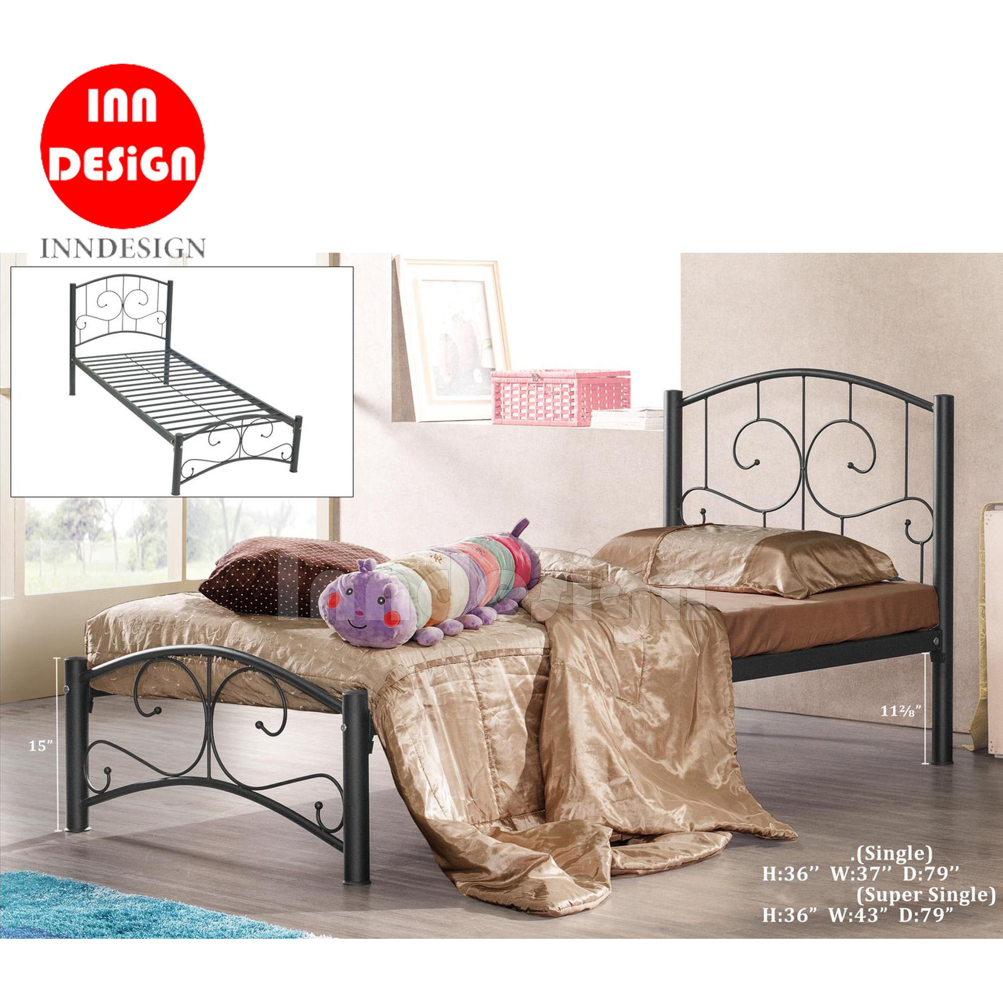 Single / Super Single Metal Bed / Metal Bed Frame (Black)