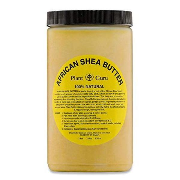 Buy Plant Guru Raw African Shea Butter 32 oz Jar Bulk Unrefined Grade A 100% Pure Natural Yellow/Gold From Ghana DIY Crafts, Body, Lotion, Cream, lip Balm, Soap Making, Eczema, Psoriasis And Aid Stretch Marks Singapore