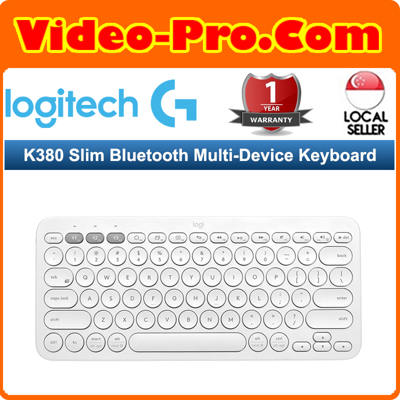 Logitech K380 Slim Bluetooth Multi-Device Keyboard  for Computers, Tablets and Smartphones-White 920-009580 (1 Year Warranty) Singapore