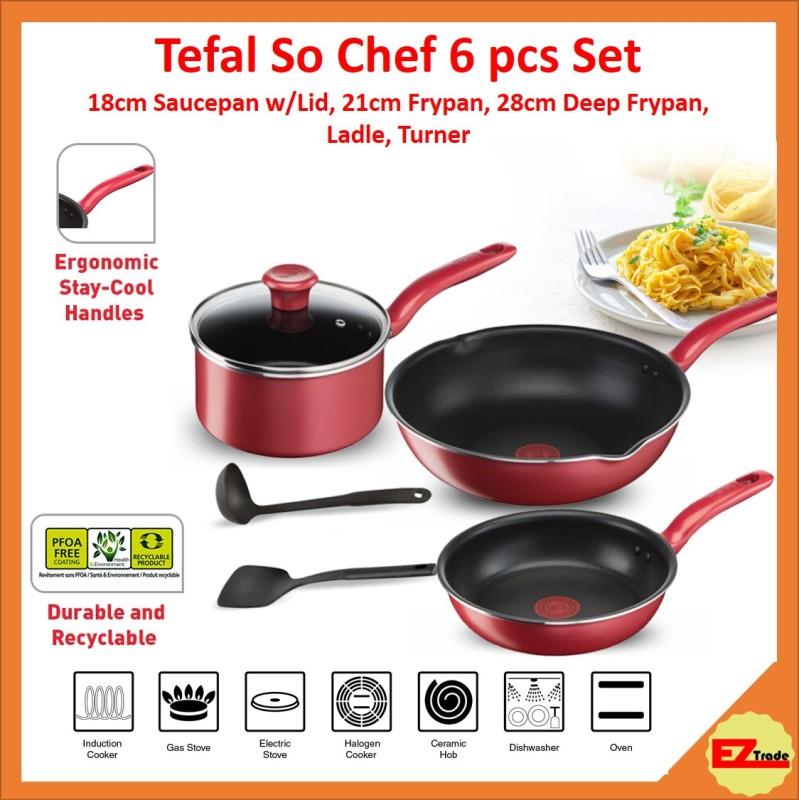 Tefal So Chef 6pcs Set G135S6, 18cm Saucepan With Lid, 21cm Frypan Frying Pan, 28cm Deep Frypan, Ladle, Turner Singapore