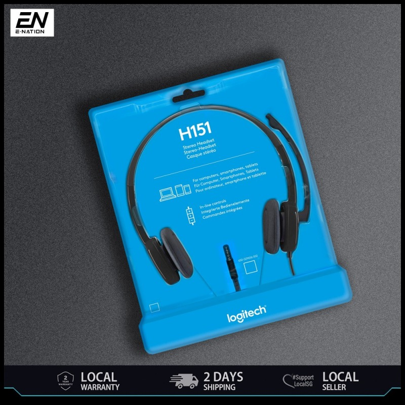Logitech Headset H151 Stereo Sound Single 3.5mm Jack with in-line controls (981-000587) 1 Year SG Warranty H 151 Head Set Head-Set Singapore
