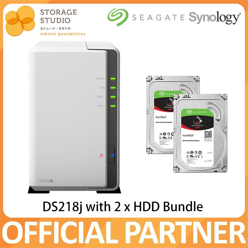 Synology Nas Ds218j 2 Bay Nas (2 X Seagate Ironwolf Hdd Bundle Series). Warranty: 2 Years. Local Warranty. ** Synology Official Partner** By Storage Studio (s) Pte Ltd
