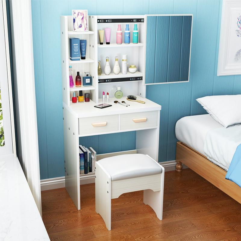 YHOR High quality Wooden Dressing Table stool vanity mirror woman modern functional stylish storage shelf makeup organiser HDB Condo House Master bedroom study scratch resistant durable pink snow white walnut
