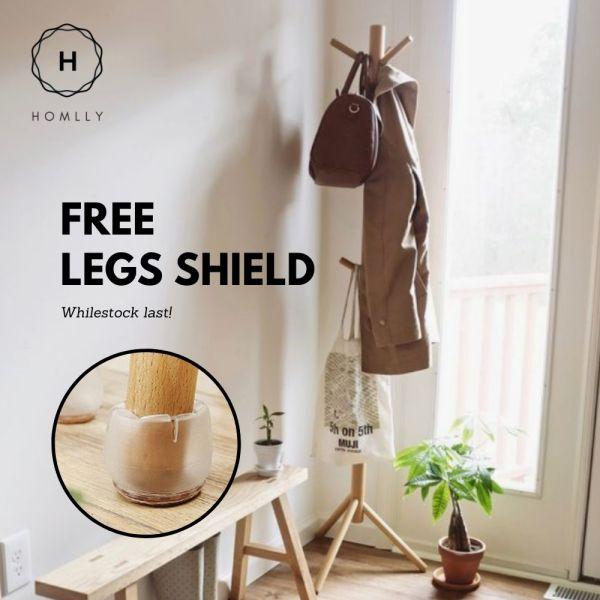 Homlly IKA Wooden Clothes Coat Rack