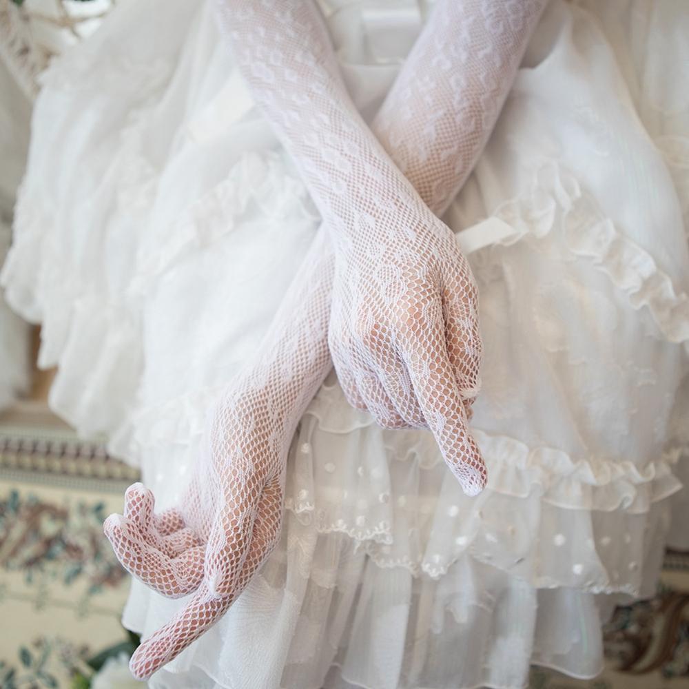 RUQISON Găng Tay Dài Lolita Cô Dâu Phong Cách Gothic Mỏng Chống Nắng Màu Trắng Nylon, Găng Tay Ren Tay Áo Chấm Bi