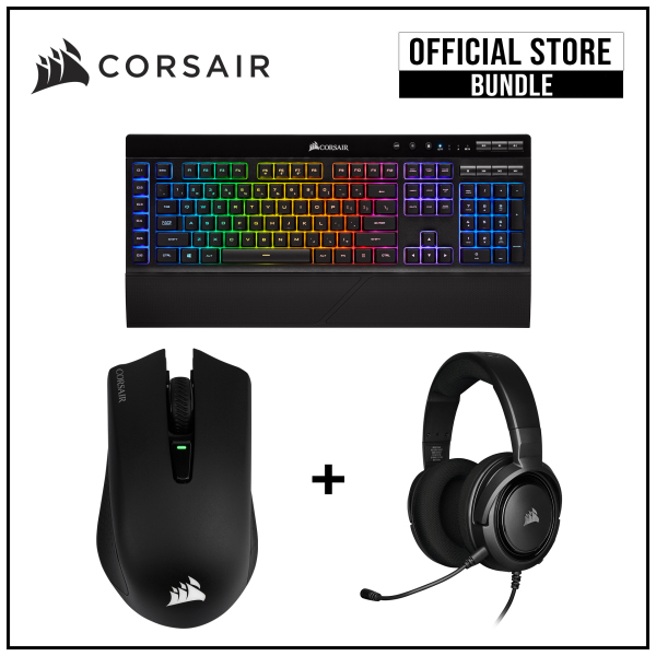 Corsair HS35 (Carbon) + K57 Wireless Gaming Keyboard + Harpoon RGB Wireless Gaming Mouse Bundle Singapore