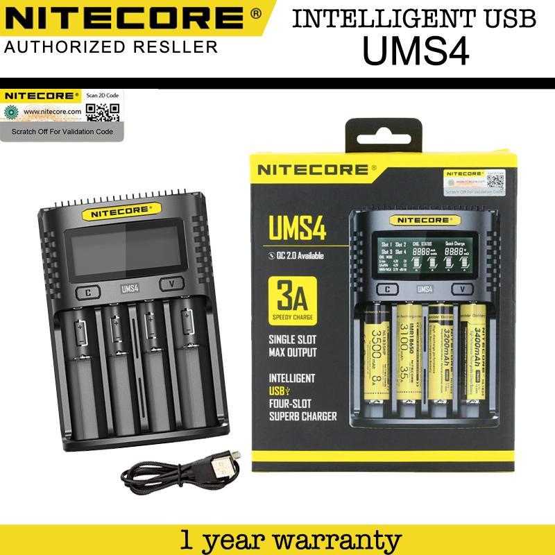 Nitecore UMS4 Intelligent USB 4 Slot Charger for AA, AAA, AAAA, C, D, IMR 18650, 22650, 26650
