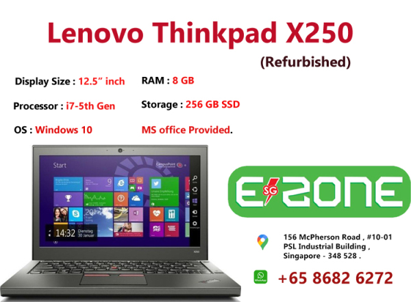 [Same Day Delivery or within 24 hrs Delivery ] (Refurbished) LENOVO THINKPAD X250  | intel core i7 -5th Gen | 8GB RAM | 256 GB HDD | 12.5 inch Display Screen | Windows 10 | Ms office