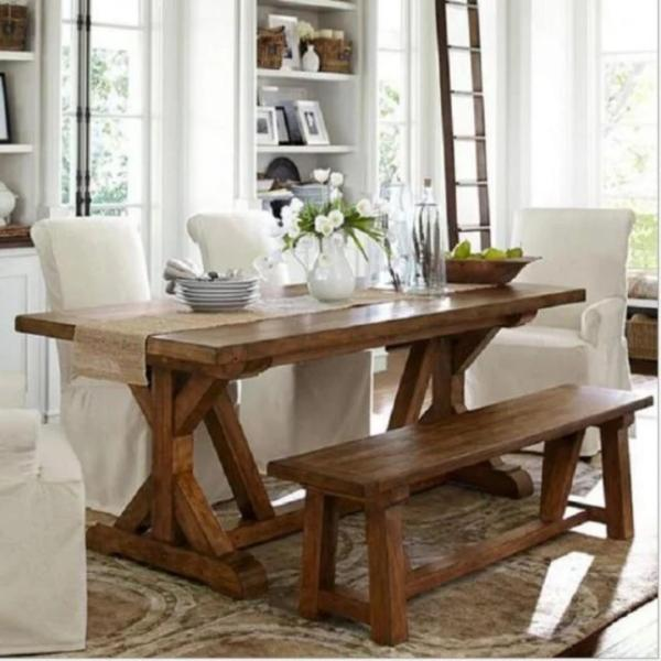 E 014 Preorder-Solid Wood Dining Table(L140*W80*H75cm)plus bench(L140*W30*H45cm)