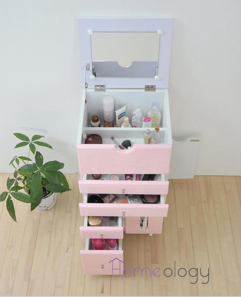 Mobile Makeup cabinet organizer drawer dressing with mirror