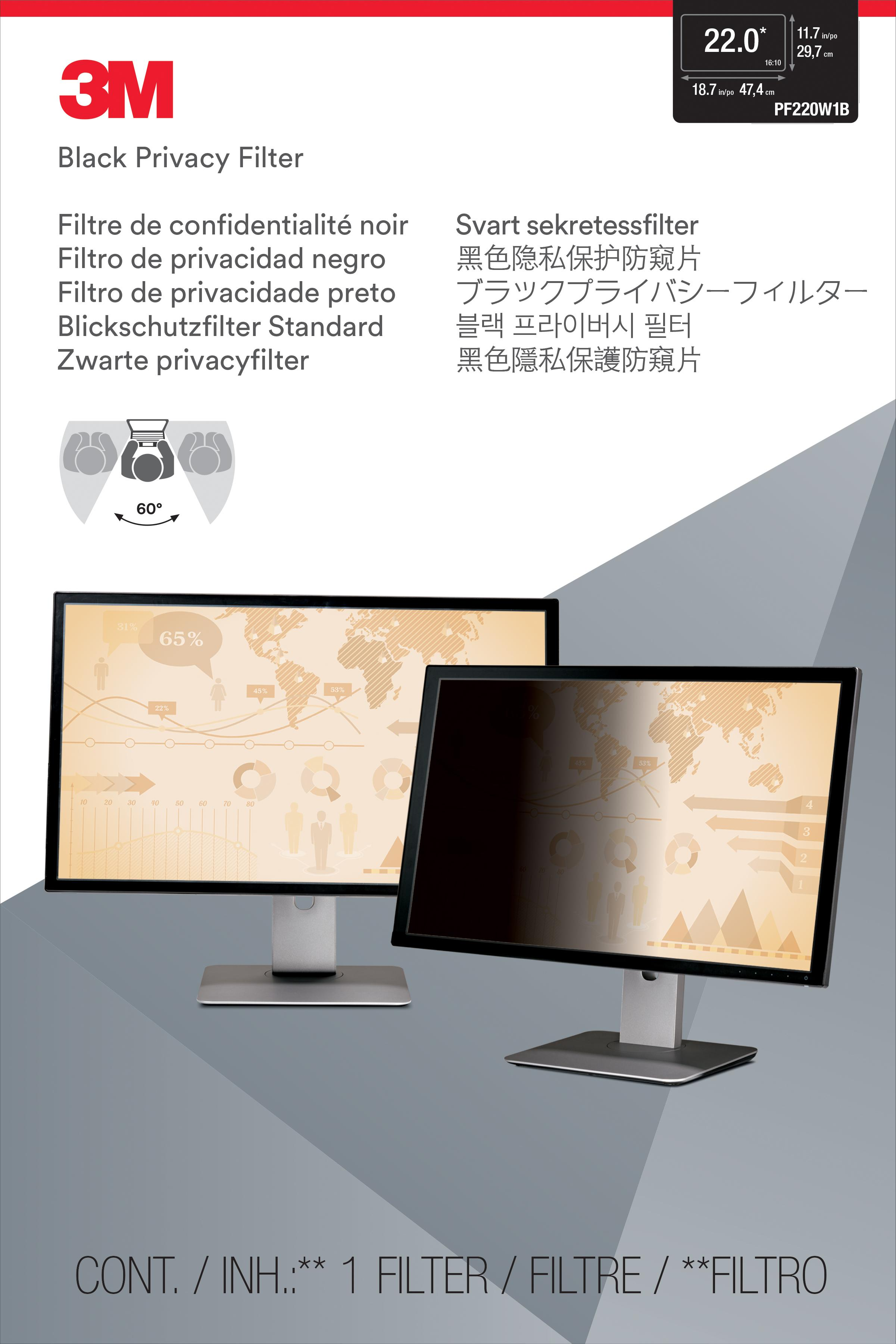 3M™ Privacy Filter for 22-inch Widescreen (16:10) Monitor (PF220W1B) - 474 mm (w) x 297 mm (H)