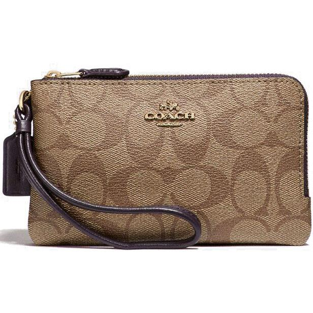 Coach Wristlet In Gift Box Double Corner Zip Wallet In Signature Coated Canvas Khaki / Oxblood # F87591