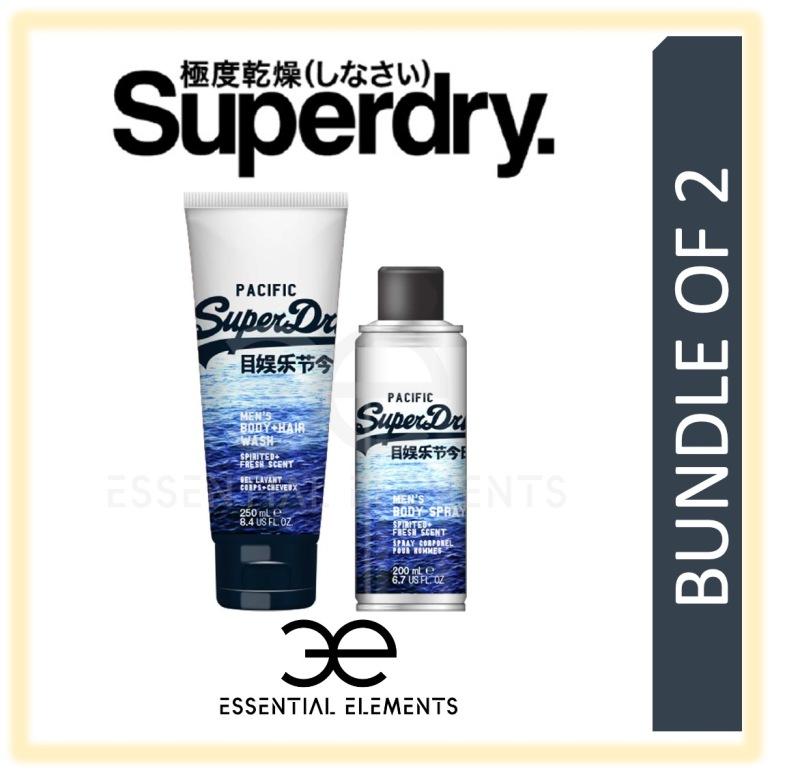 Buy SUPERDRY [BUNDLE OF 2] PACIFIC MEN BODY & HAIR WASH 250ML + BODY SPRAY 200ML   SPORT ORIGINAL GROOMING ATHLETIC BATH SHOWER DEODORANT SHAMPOO Singapore