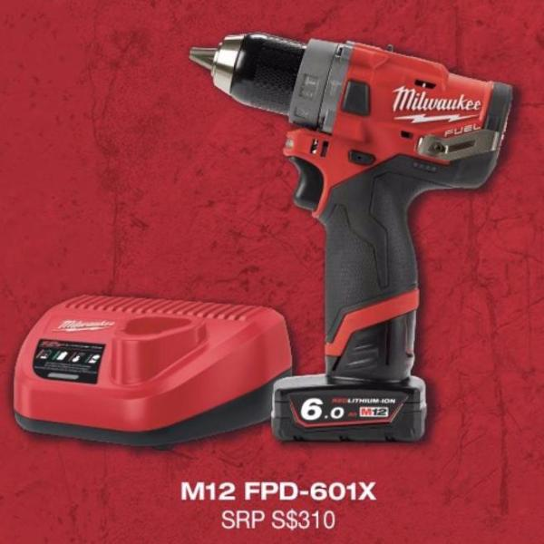BUY 1 GET 1 FREE! MILWAUKEE M12 FUEL BRUSHLESS EXPERIENCE KIT: M12 Compact Percussion Hammer Drill Kit with ONE Battery M12FPD / M12FPD-601X