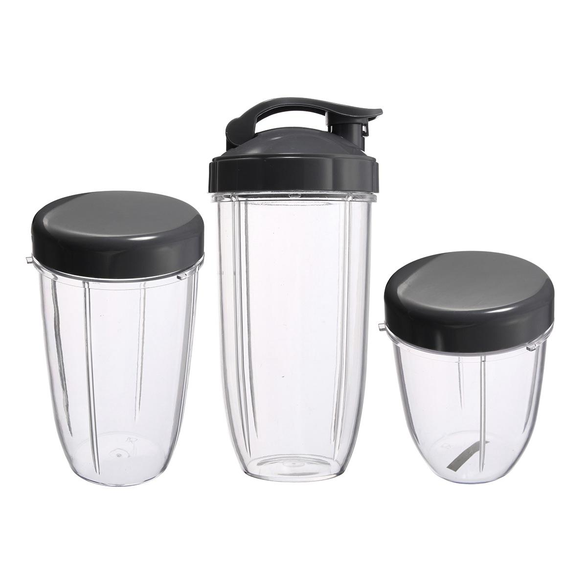 3Pcs Replacement Cups 32 Oz Colossal +24 Oz Tall +18oz Small Cup+3 Lids For Nutribullet Fruit Juicer Parts Kitchen Appliance Bottle