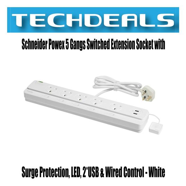 Schneider Powex 5 Gangs Switched Extension Socket with Surge Protection, LED, 2*USB & Wired Control - White