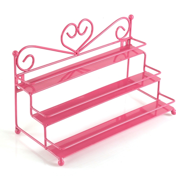 Metal Nail Polish Shelf Cosmetic Varnish Display Holder Heart Design Women Makeup Wall Rack Organizer Case Rose Red