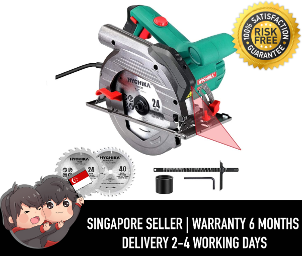 "Hychika Circular Saw CS-190C 6 Variable Speeds, 2200-4700RPM, 2Pcs Blades(24T+ 40T): 7-1/2, Max Cutting Depth 2-1/2""(90°), 1-4/5""(45°), Laser Guide, Pure Copper Wire Motor, 10Ft Power Cord"