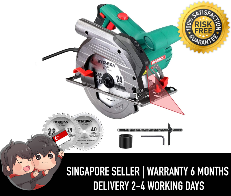 """Hychika Circular Saw CS-190C 6 Variable Speeds, 2200-4700RPM, 2Pcs Blades(24T+ 40T): 7-1/2, Max Cutting Depth 2-1/2""""(90°), 1-4/5""""(45°), Laser Guide, Pure Copper Wire Motor, 10Ft Power Cord"""