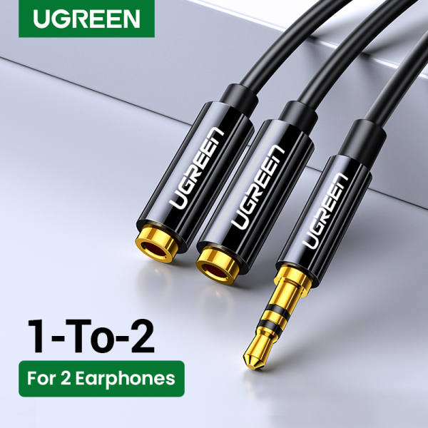 UGREEN 3.5mm Jack Earphone Audio Splitter Adapter 1 Male to 2 Female Extension Aux Cable for Car MP3/4 CD Player Black - intl Singapore