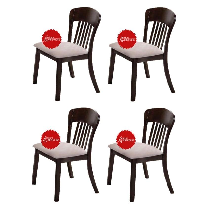BUNDLE OF 4PCS - Shane Solid Wood Cushion Seat Dining Chair