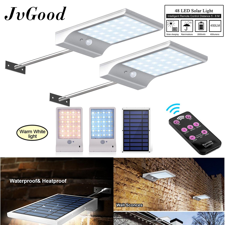 JvGood Upgraded 48 LED Solar Light Outdoor Lighting Waterproof Motion Sensor Light Mounting Pole Garden Light with Remote Control