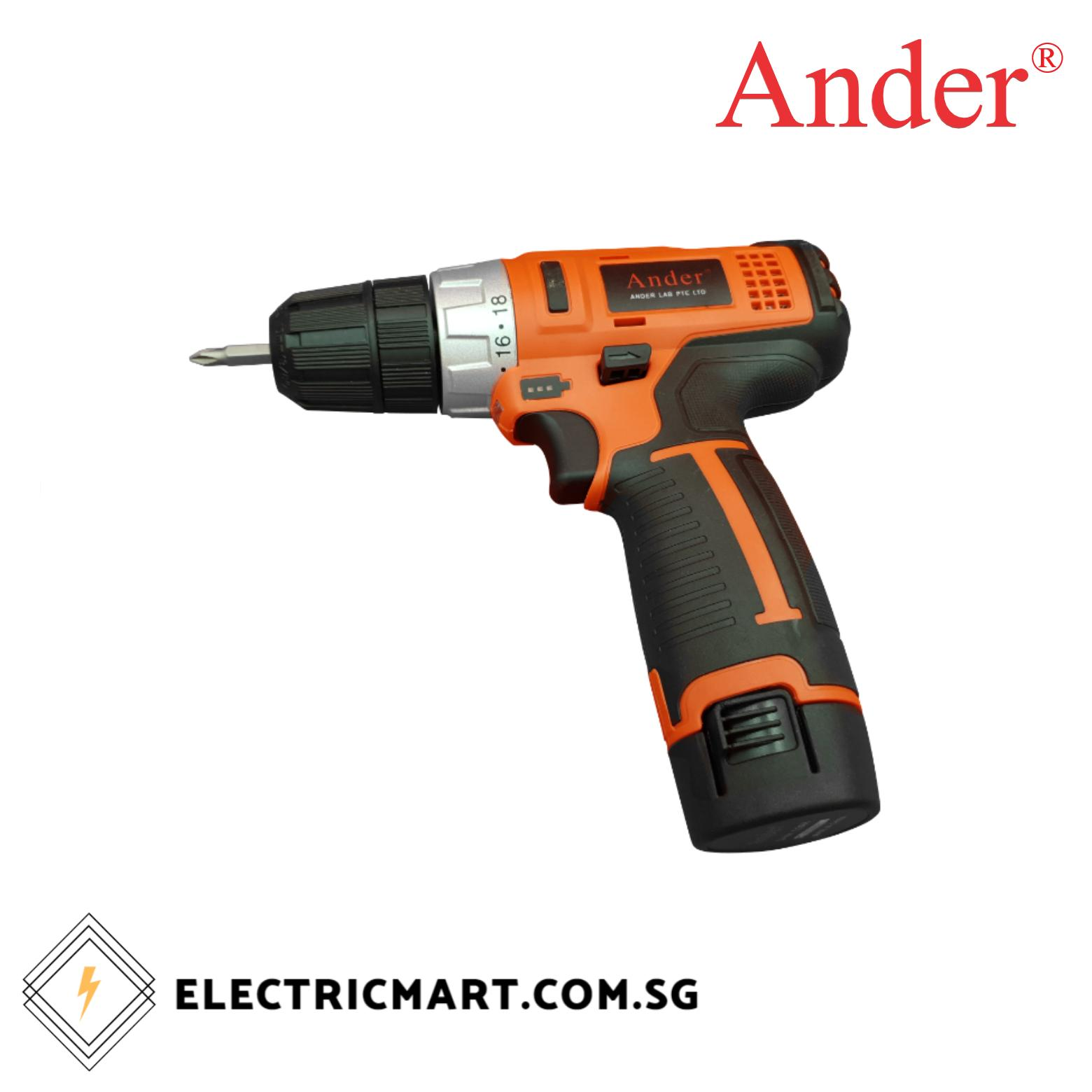 Ander 6512 Cordless Power Drill c/w 12V Li-ion battery Model:835067