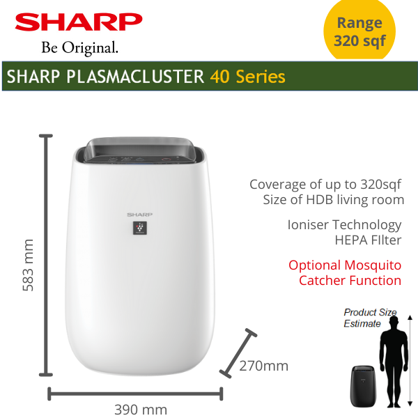 SHARP Air Purifier Ioniser Japanese Technology with HEPA Filter coverage 30sqm Fight Haze for living room with local warranty (Optional -mosquito catcher function) Singapore