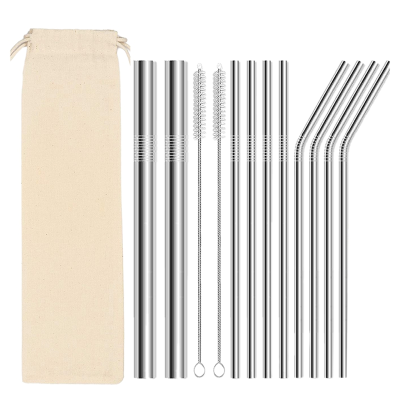 13pcs Reusable Straws For Drinks 304 Stainless Steel Straws Eco Friendly Drinking Straws With Bag.