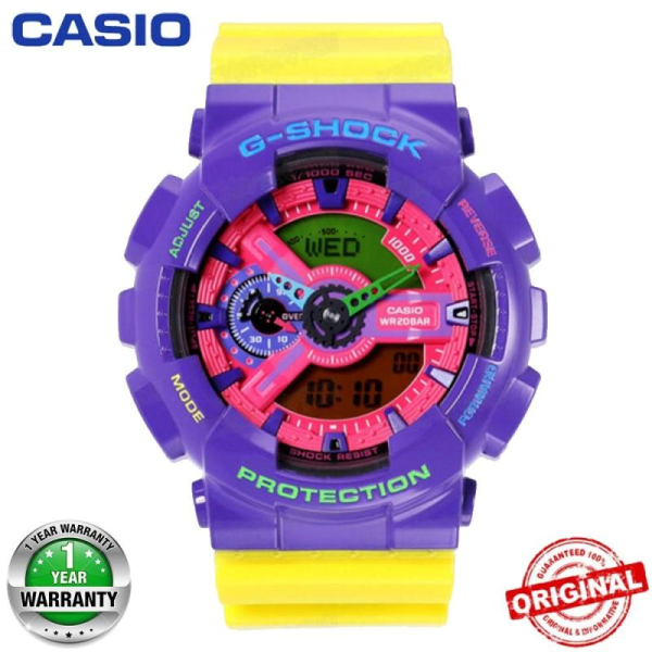 Original  G Shock GA-110HC-6A Men Sport Watch Duo W-Time 200M Water Resistant Shockproof and Waterproof World Time LED Auto Light Wist Sports Watches with 2 Year Warranty GA110/GA-110 in stock Malaysia