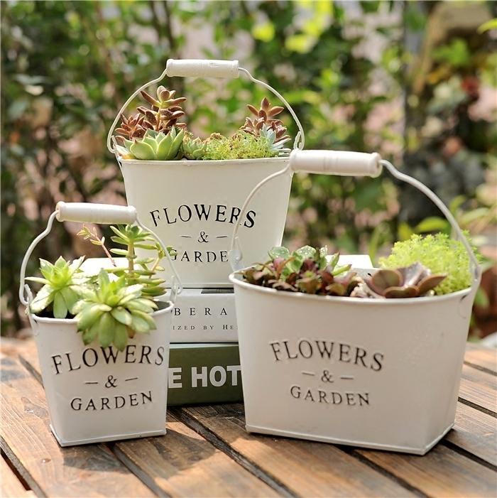 Vintage Algam Succulent Flowerpot hua tong Drum Creative Decoration Plant Dried Flower Bucket Garden Zakka Iron Art Flower Holder