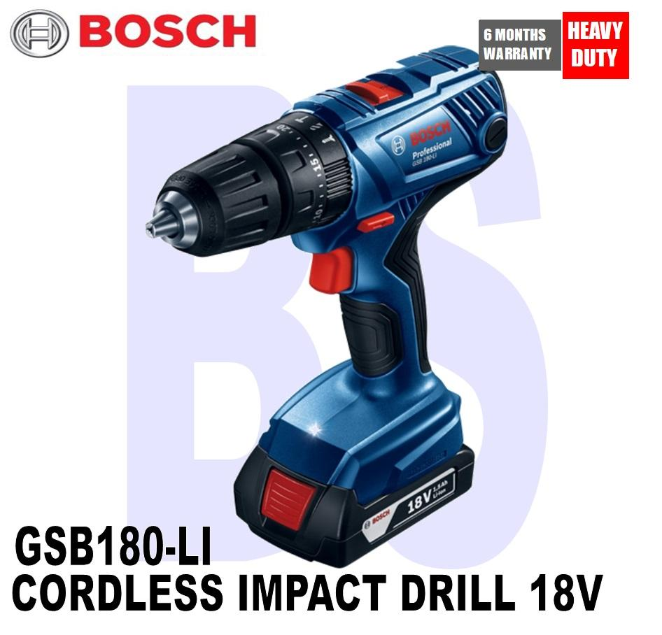 BOSCH CORDLESS IMPACT DRILL 18V 1.5AH (GSB180-LI) comes with 2 battery