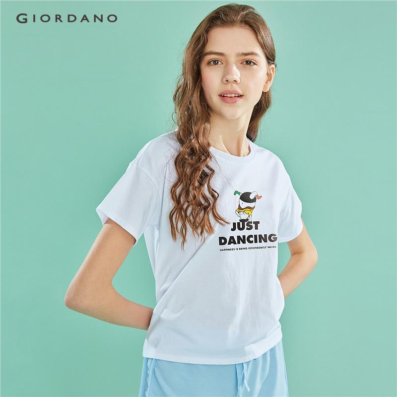 b6e294e1aed6 Giordano Women T-Shirts WHIKO Series Tshirt White Tops Funny Graphics Short  Sleeve Print Just