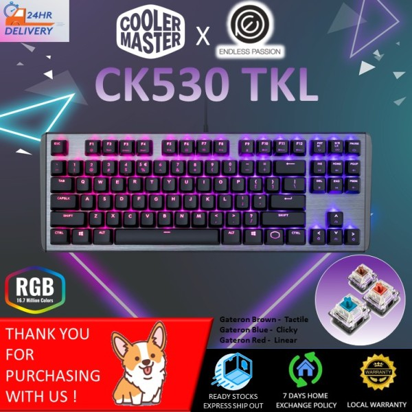 Cooler Master CK530 Tenkeyless Gaming Mechanical Keyboard with RGB Backlighting, On-The-Fly Controls, and Aluminum Top Plate [24 hours delivery] Singapore