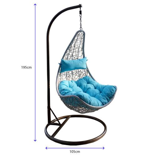 BALCONY SWING CHAIR OUTDOOR LIVING CUSHION RATTAN (FREE INSTALL)