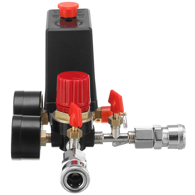 240V AC Regulator Air Compressor Pump Pressure Control Switch Valve Manifold Relief Regulator Gauge with Quick Connector