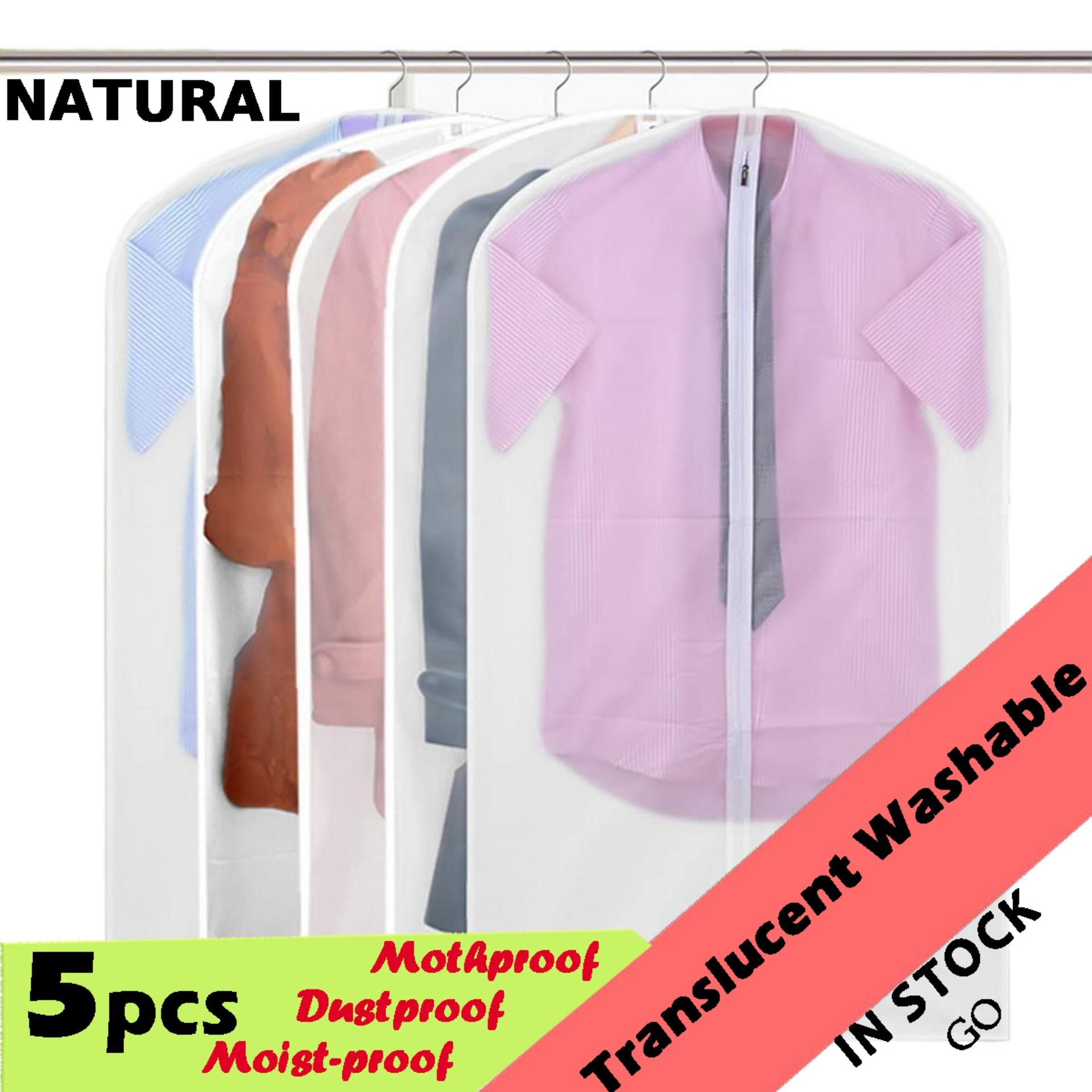 5 Pcs Translucent Peva Coat Dress Jacket Garment Clothes Protective Washable Dust Proof Cover Bag S - Intl By Duha.