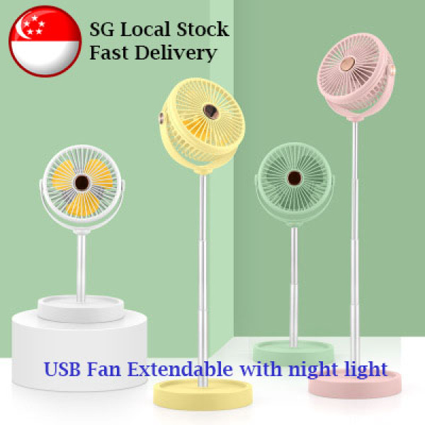 USB Mini Desktop Extendable Fan with night light