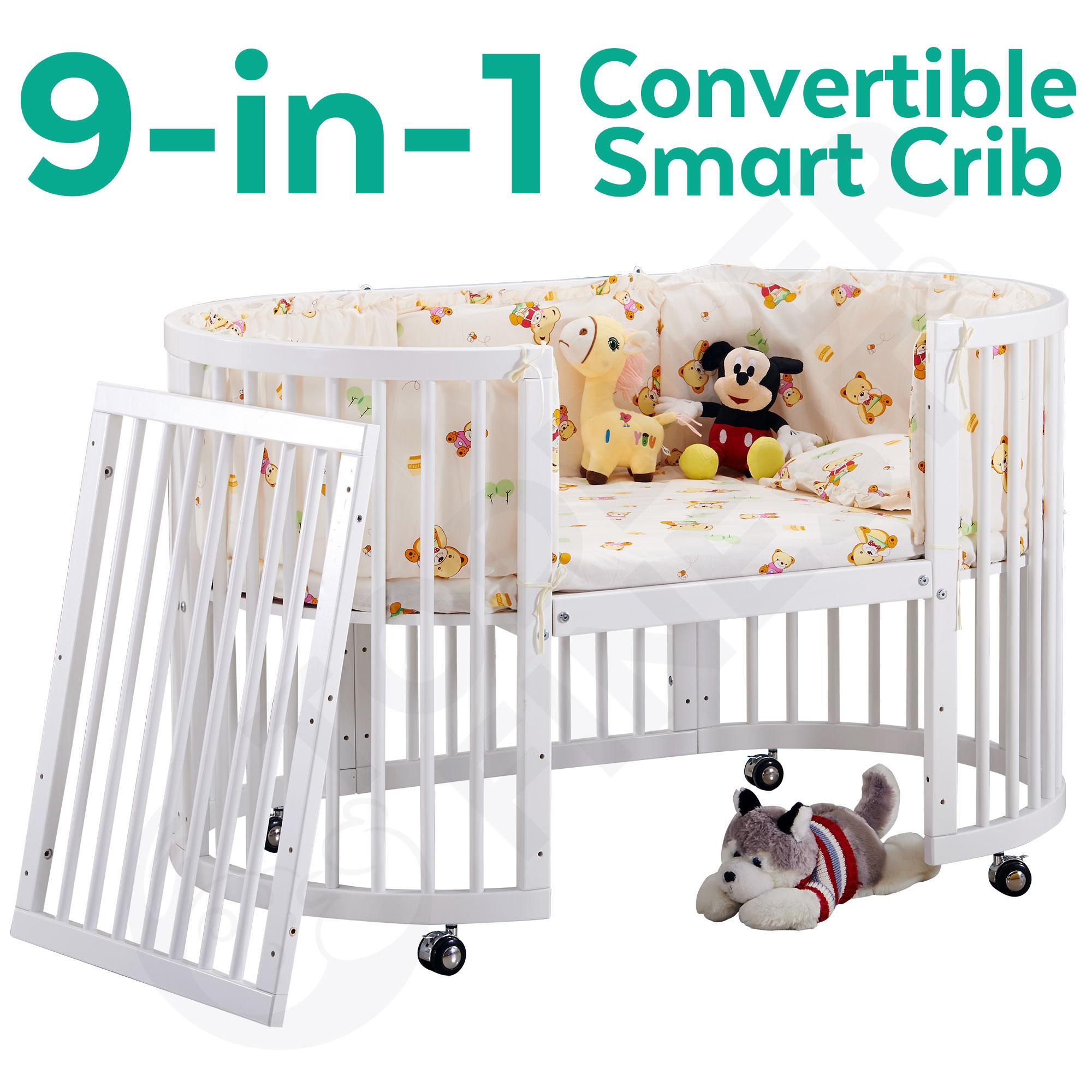 9-In-1 Convertible Baby Crib - As Infant Round Bed, Toddler Daybed, Side Bed, Full Oval Cot, Diaper Changer, Playard, Sofa, Study Desk Chair - 4 Position Adjustable Height Base - With Breathable Hypoallergenic Cot Mattress (age 0-10)(white)(toddlerfinest).