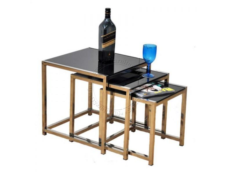 (FurnitureSG) 3 Piece Set Coffee Table Tempered Glass Top Steel Legs