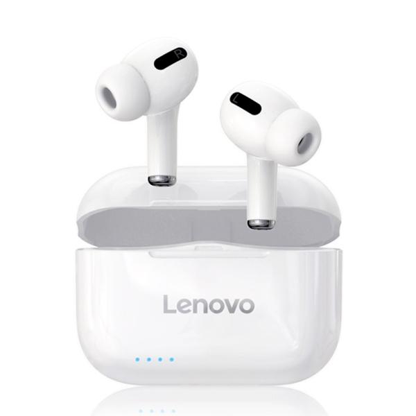 Tai nghe không dây thực sự Lenovo LP1S Tai nghe BT 5.0 Tai nghe âm thanh nổi với màng ngăn kép Máy chủ kép Tai nghe thể thao chống nước IPX4 với Công nghệ giảm tiếng ồn Tai nghe mic tích hợp trong tai có cuộc gọi HD