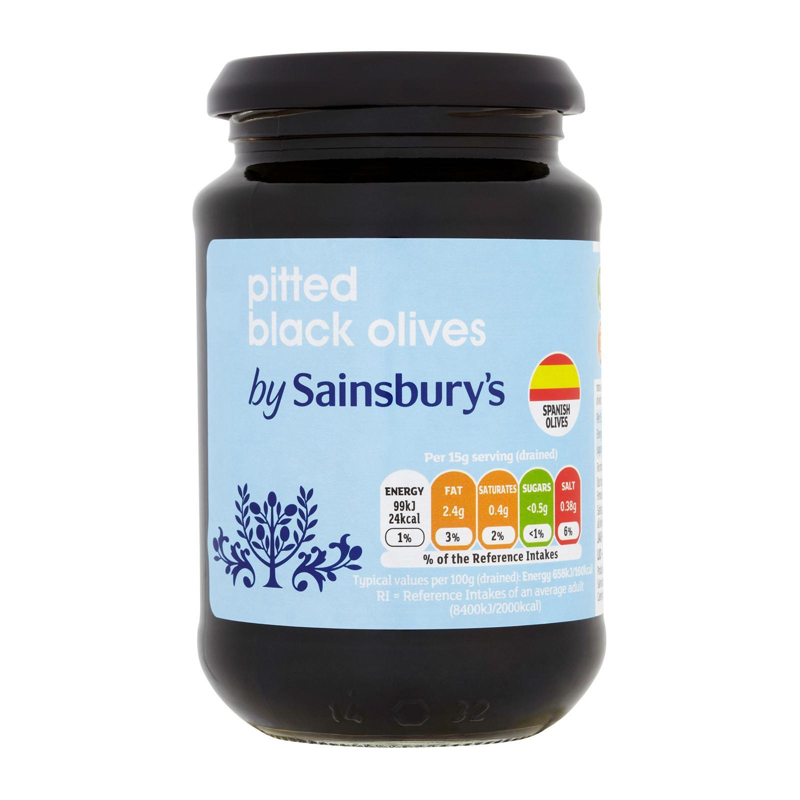 Sainsburys Pitted Black Olives By Redmart.
