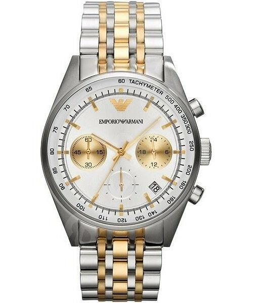Emporio Armani Ladies Tone Toned Silver And Gold Stainless Steel Bracelet Quartz Chronograph Watch White Dial 39mm Ar6117 By Watch Centre.