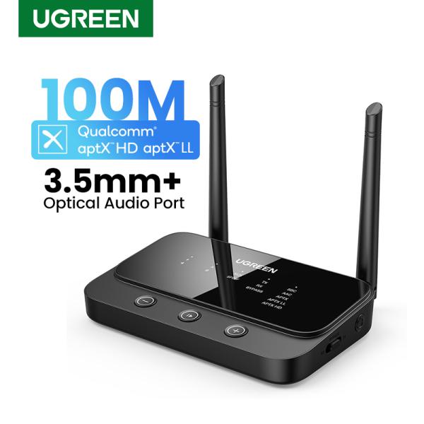UGREEN 3-in-1 Bluetooth 5.0 Audio Adapter Transmitter Receiver Optical Audio Port Aptx Qualcomm 3.5mm 100M Long Range Three Modes Select Singapore
